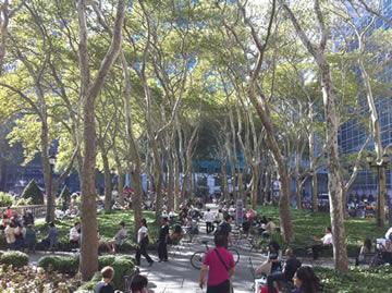 Park met veel schaduw
