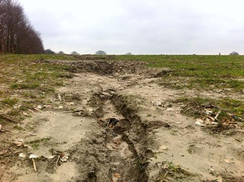 Erosie aan de rand van de stuwwal